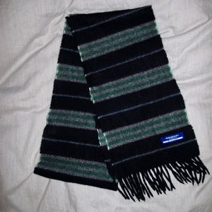 Burberry London Blue Label Stripe Plaid Scarf